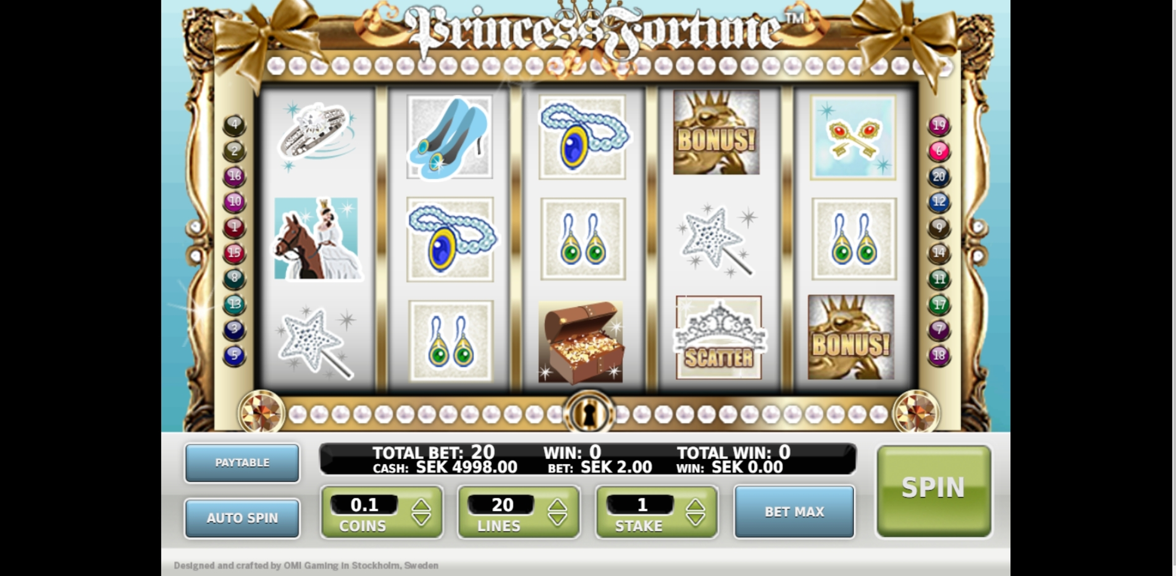 Reels in Princess Fortune Slot Game by OMI Gaming