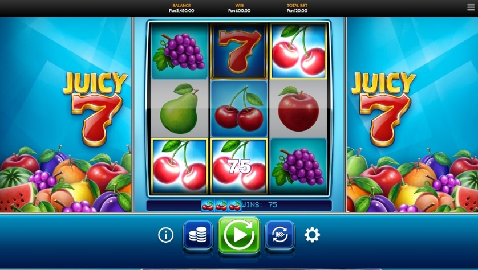 The Juicy 7 Online Slot Demo Game by OneTouch Games