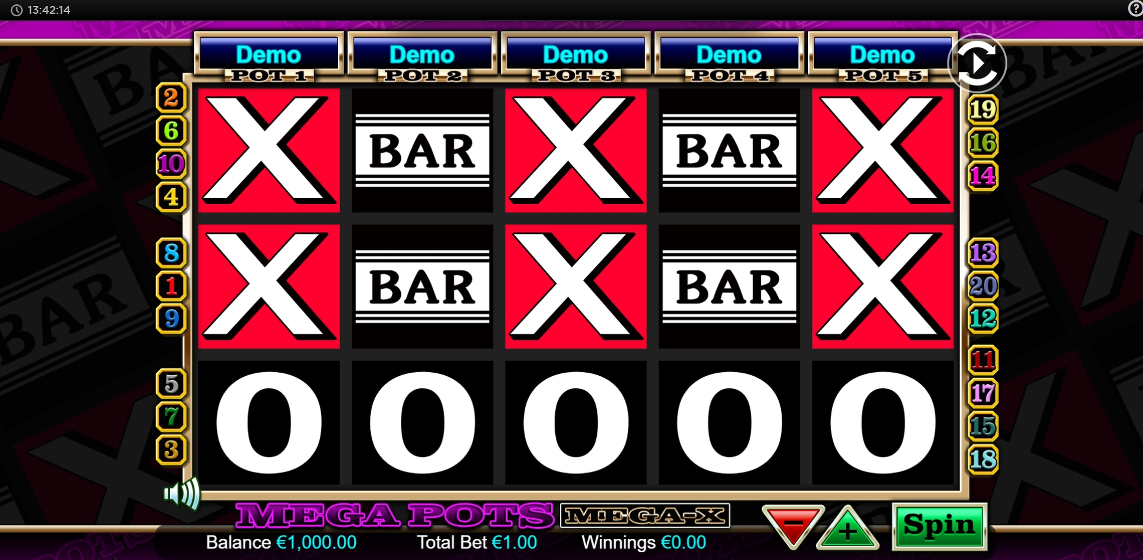 Reels in Mega Pots Mega-X Slot Game by OpenBet