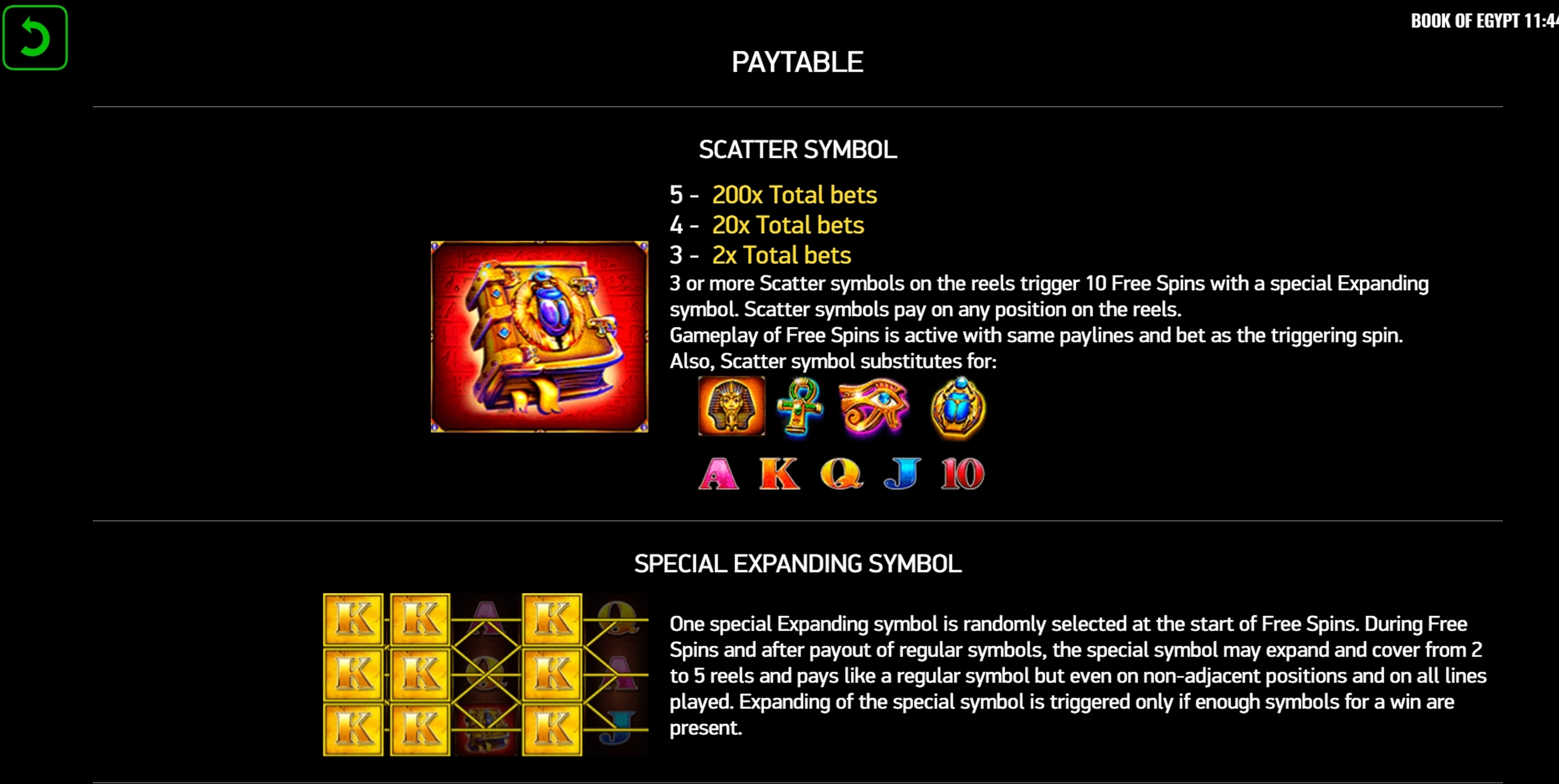 Info of Book of Egypt Slot Game by Platipus