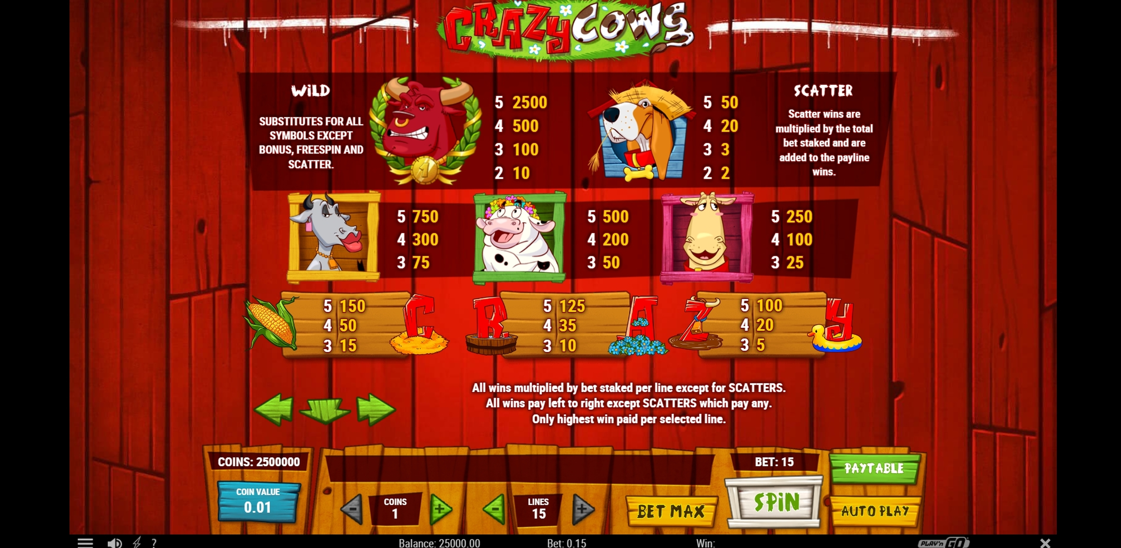 Info of Crazy Cows Slot Game by Playn GO