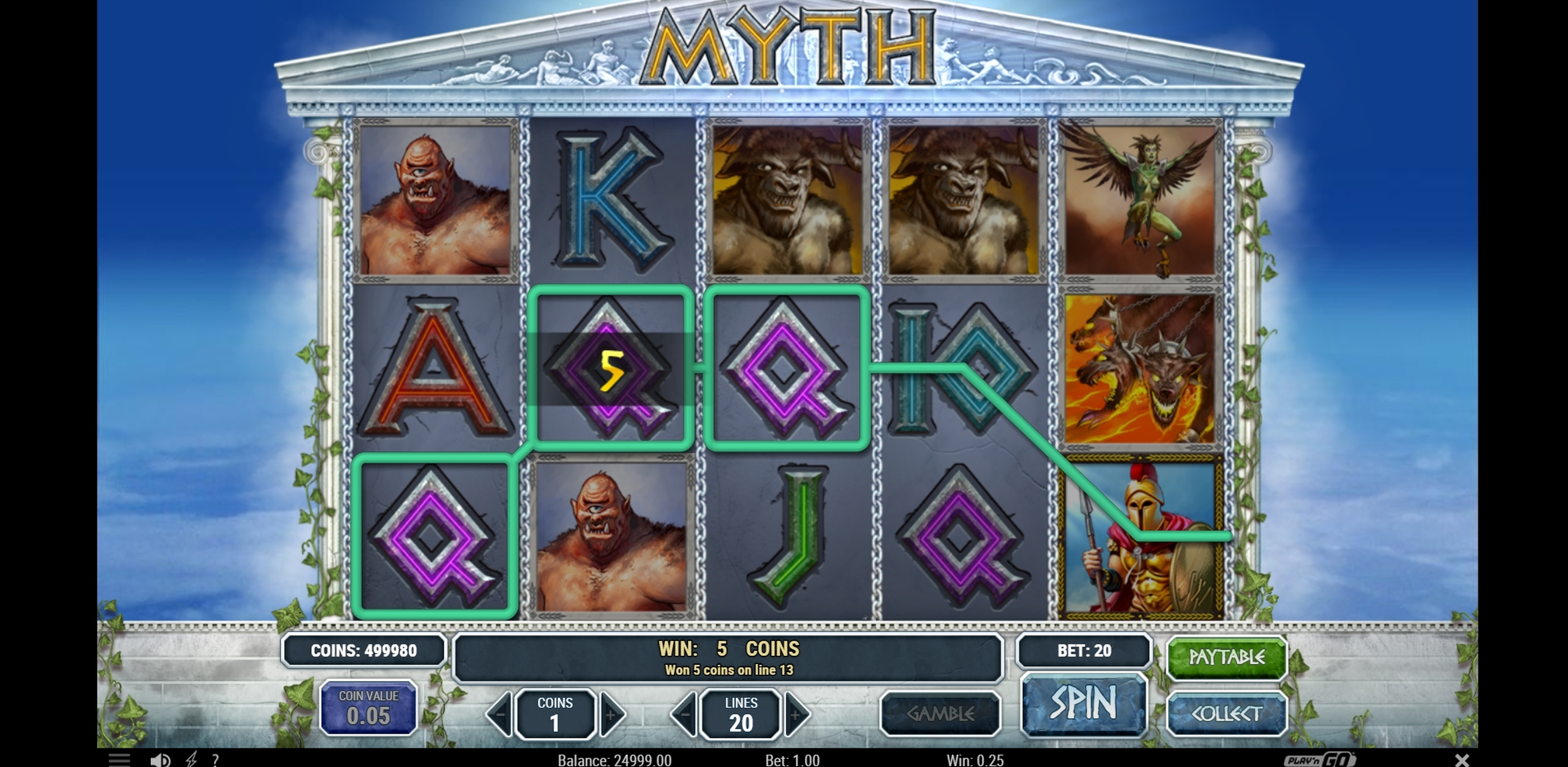 Win Money in Myth Free Slot Game by Playn GO