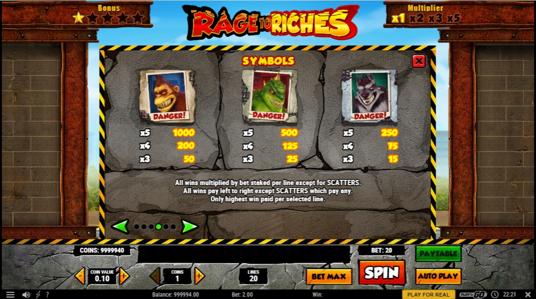 Info of Rage to Riches Slot Game by Playn GO