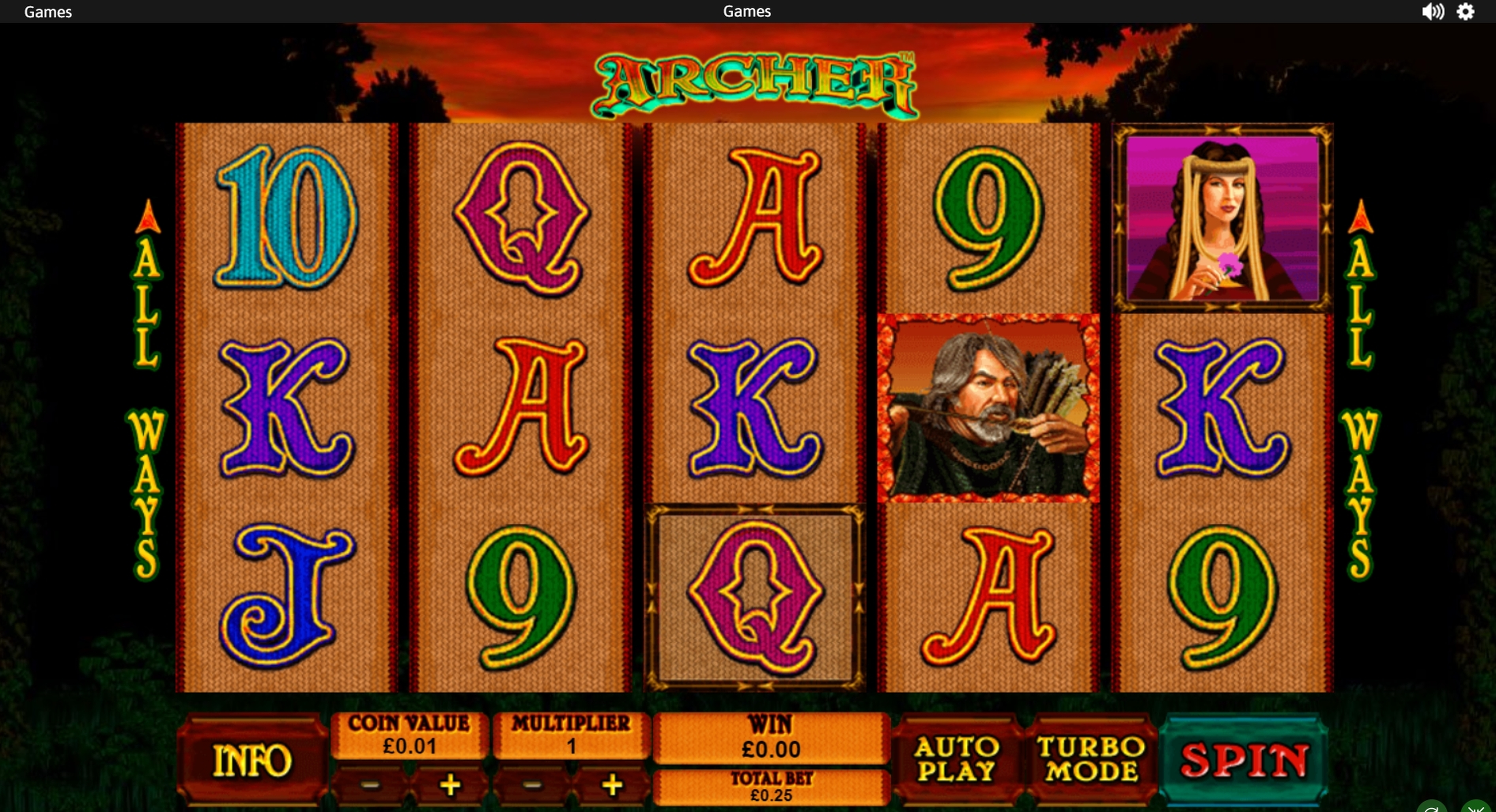 Reels in Archer Slot Game by Playtech
