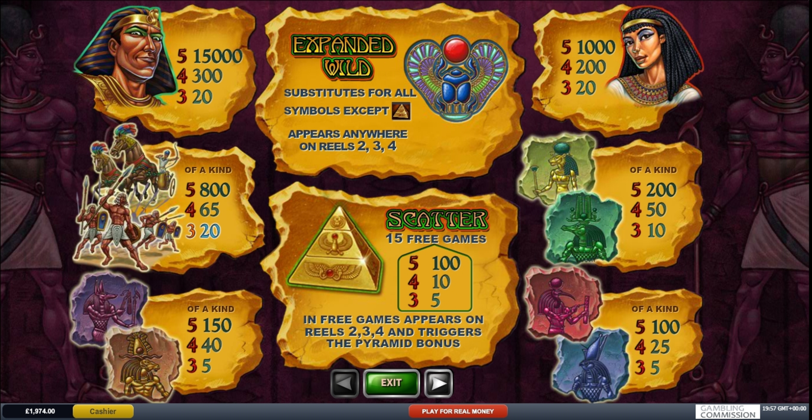 Info of The Pyramid of Ramesses (Playtech) Slot Game by Playtech