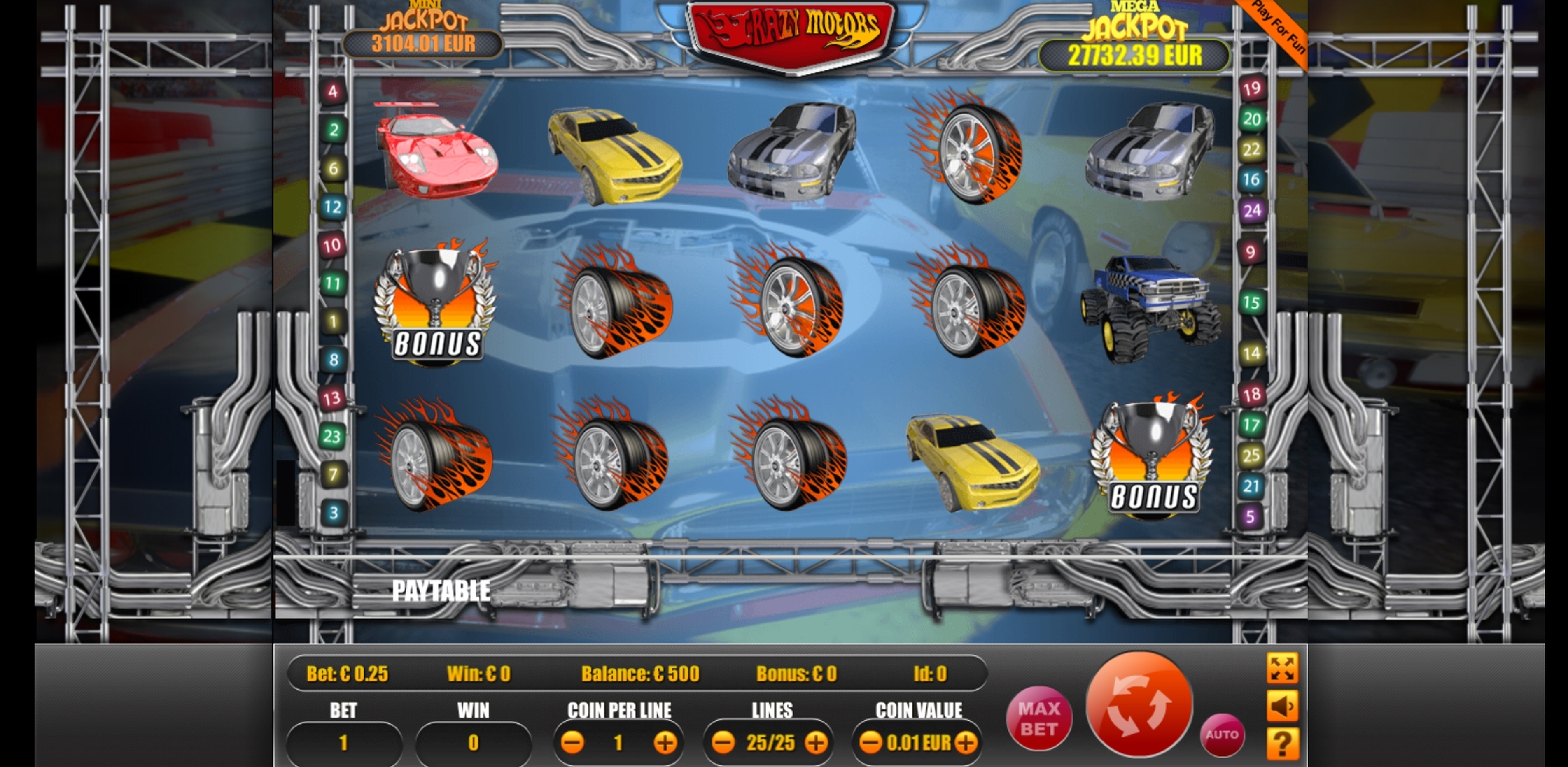 Reels in Crazy Motors Slot Game by Portomaso Gaming