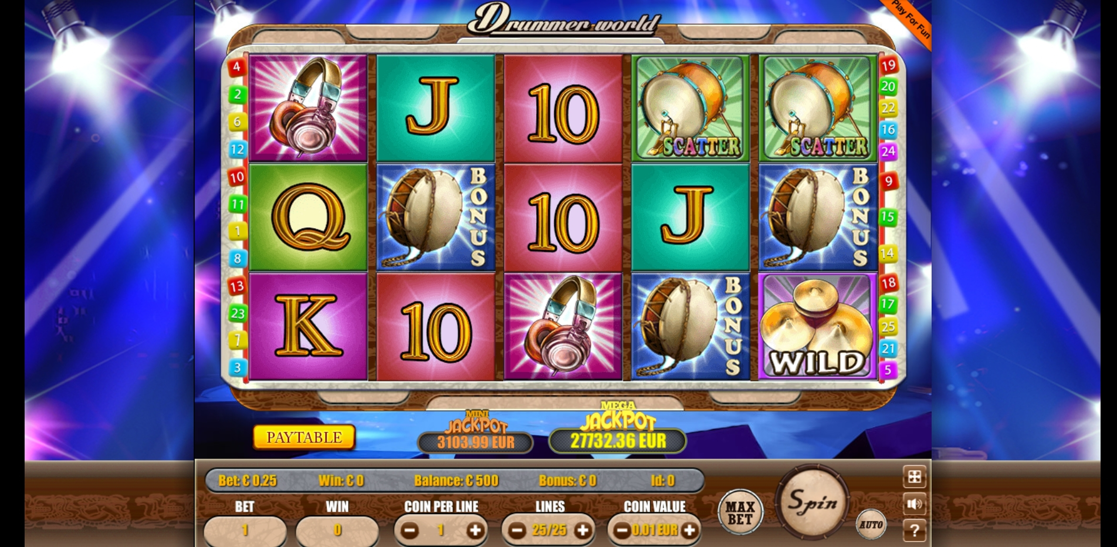 Reels in Drummer World Slot Game by Portomaso Gaming