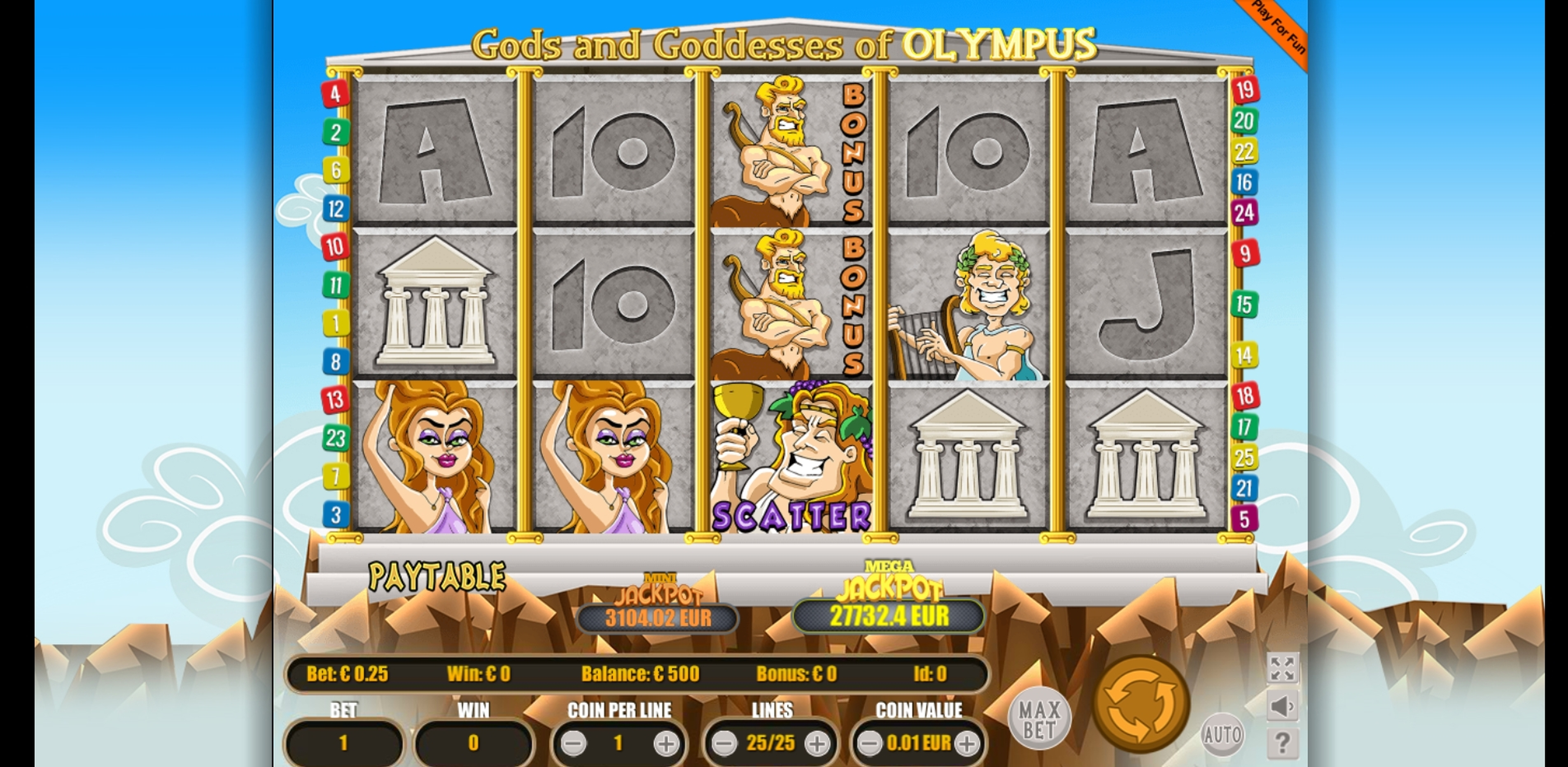 Reels in Gods And Goddesses Of Olympus Slot Game by Portomaso Gaming