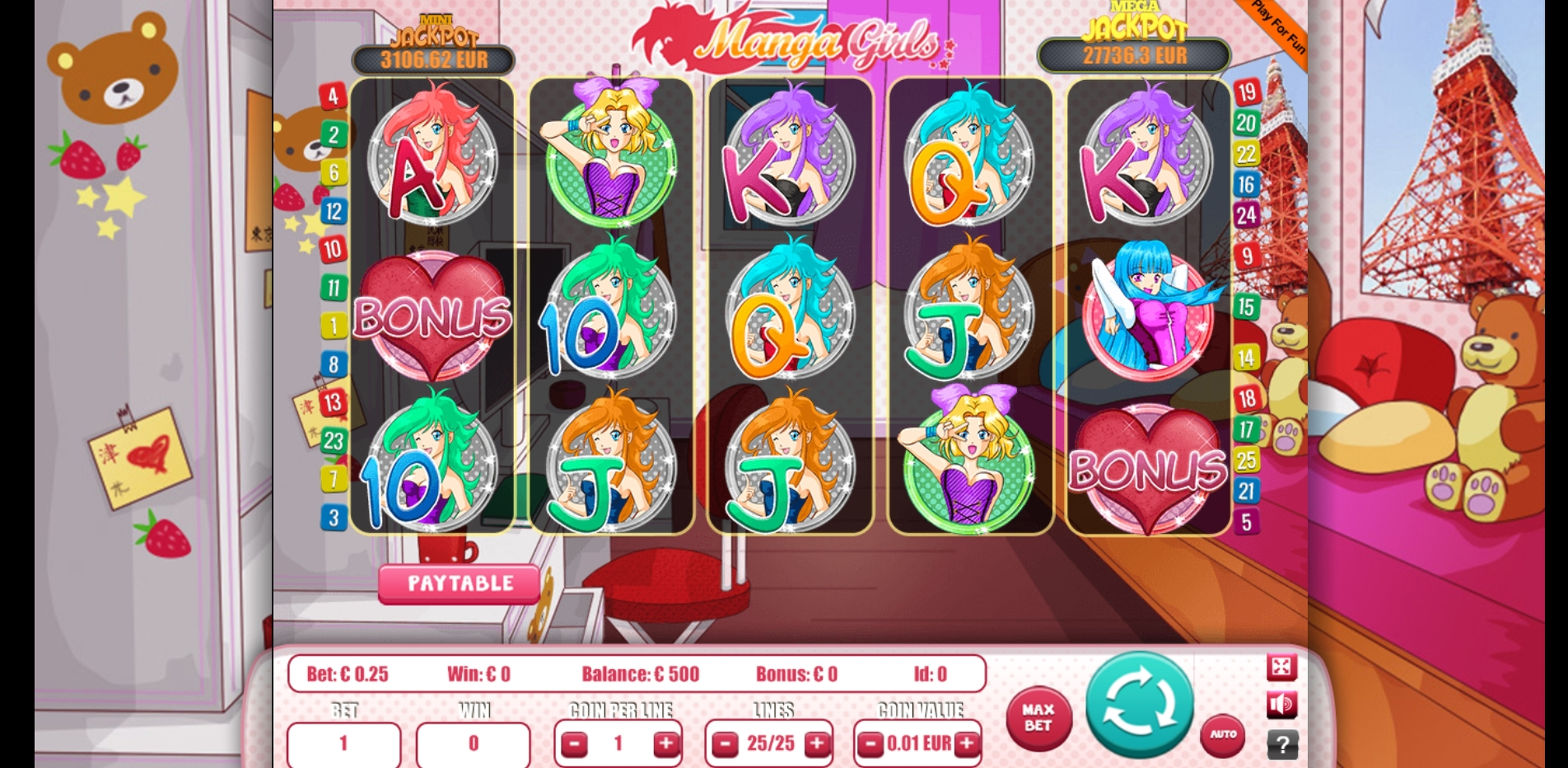 Reels in Manga Girls Slot Game by Portomaso Gaming