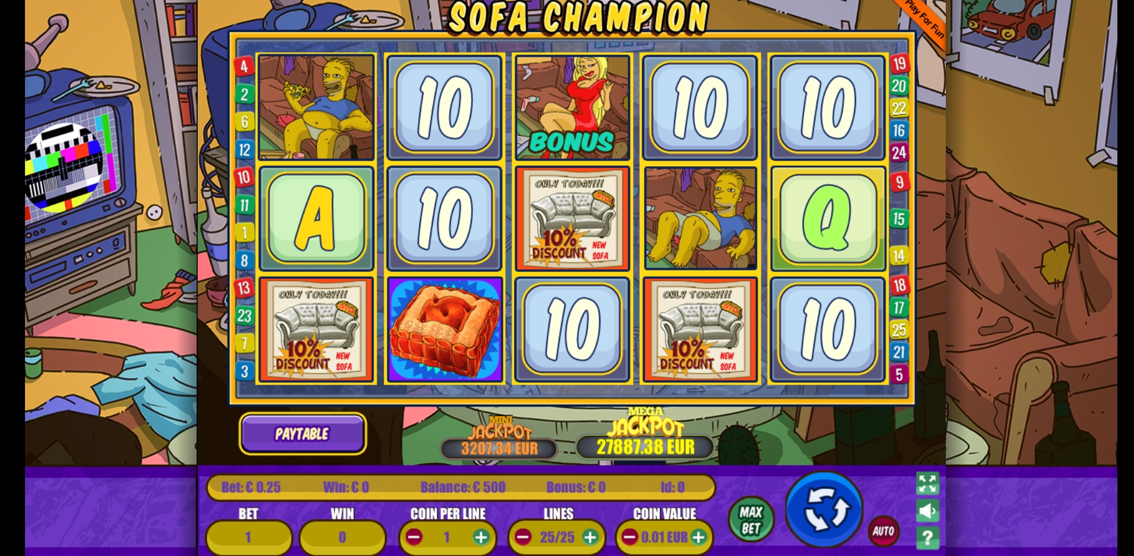 Reels in Sofa Champion Slot Game by Portomaso Gaming