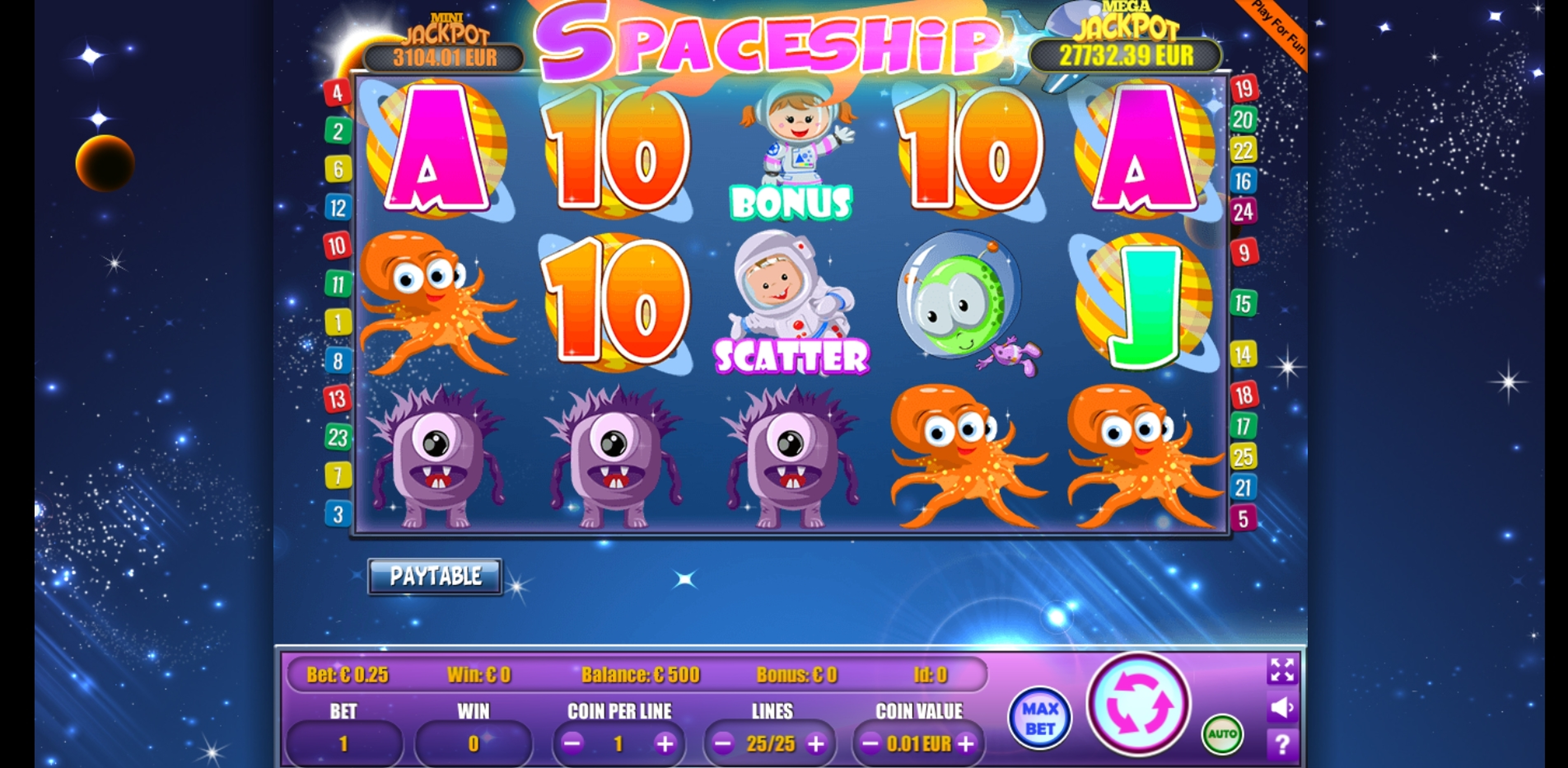 Reels in Spaceship Slot Game by Portomaso Gaming