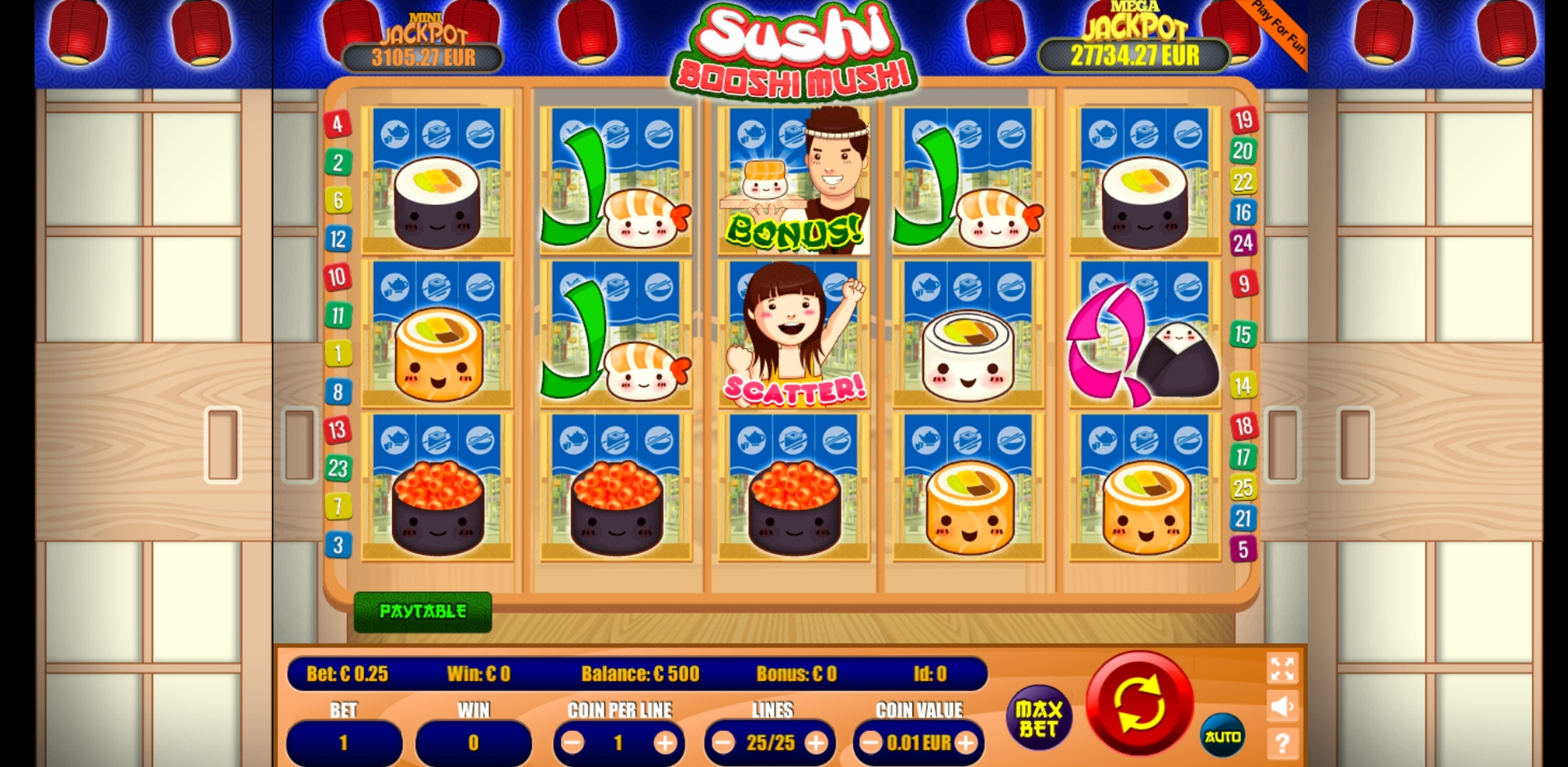 Reels in Sushi Booshi Mushi Slot Game by Portomaso Gaming