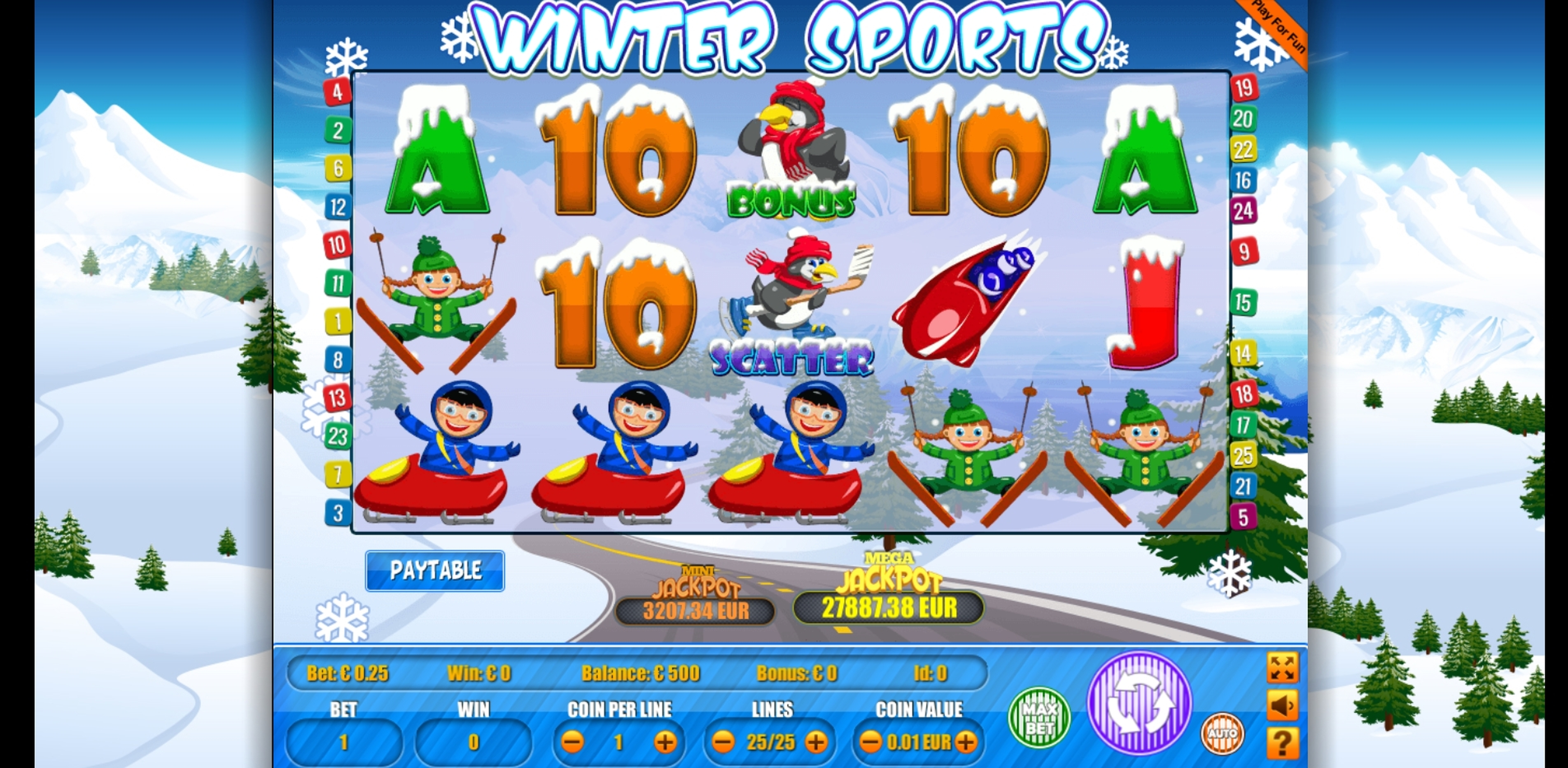 Reels in Winter Sports Slot Game by Portomaso Gaming