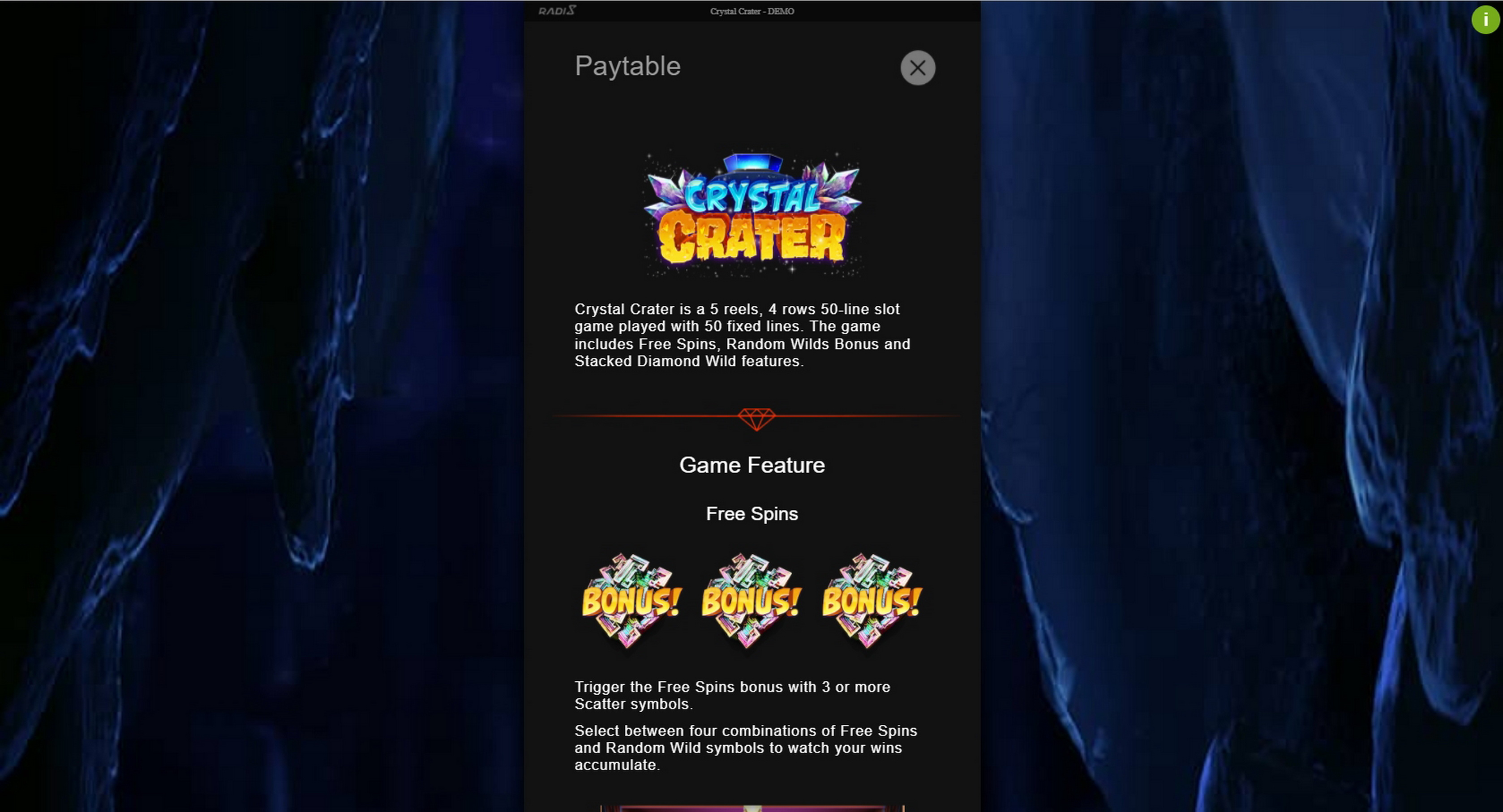 Info of Crystal Crater Slot Game by Radi8