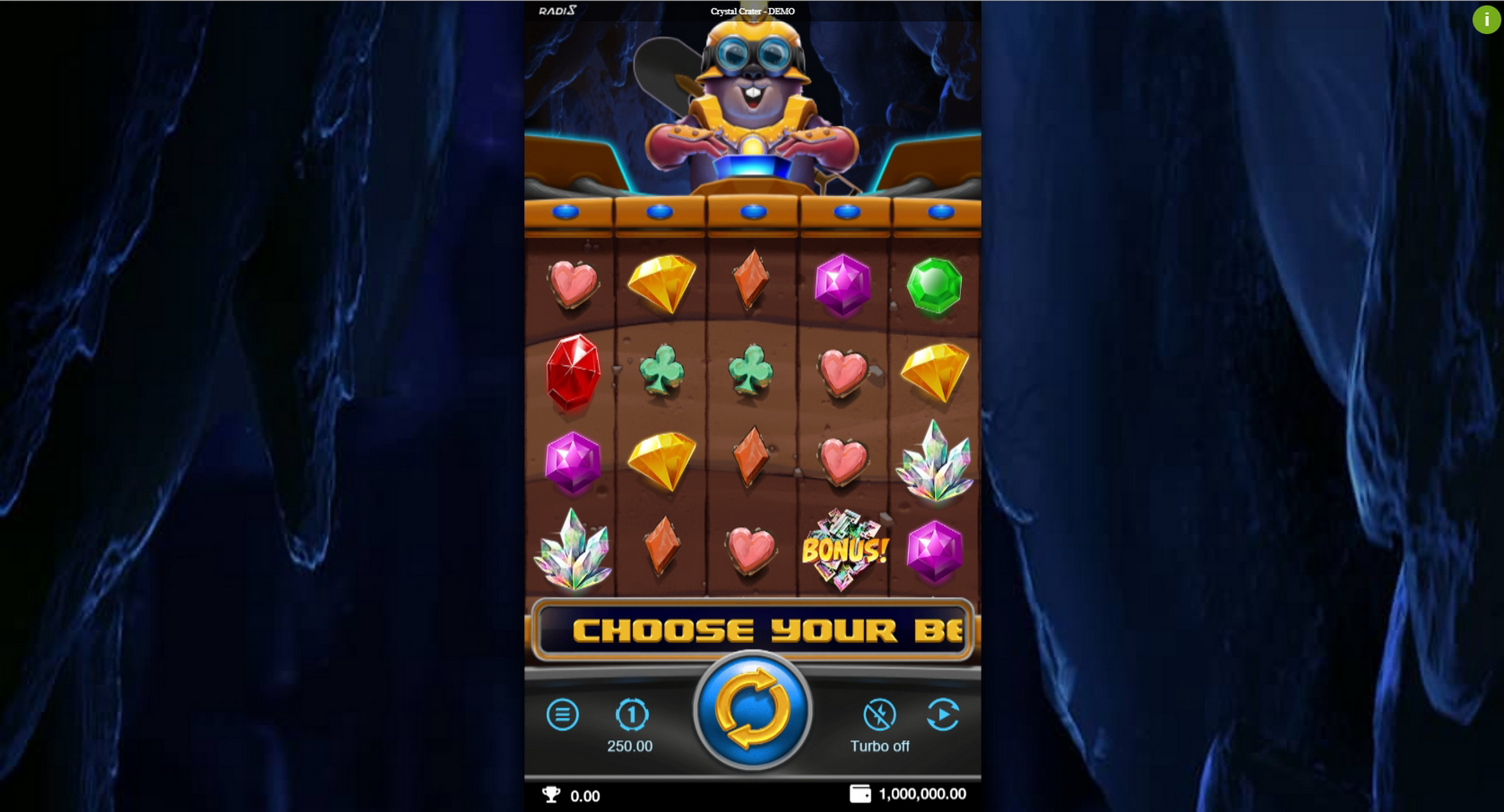 Reels in Crystal Crater Slot Game by Radi8
