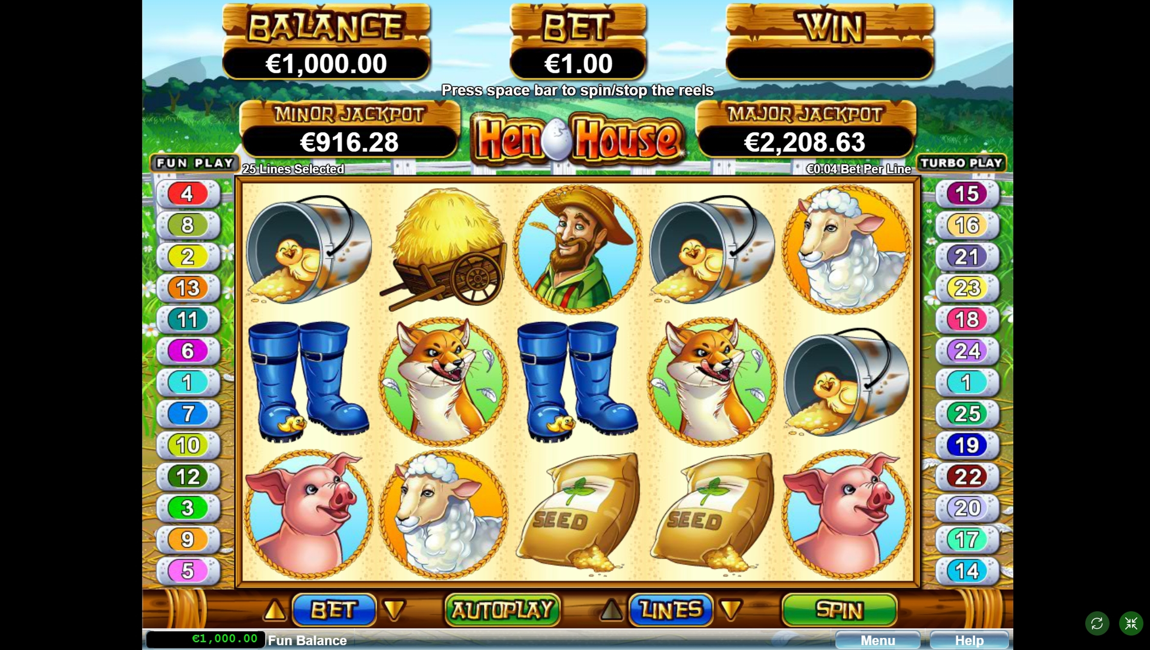 Reels in Hen House Slot Game by Real Time Gaming