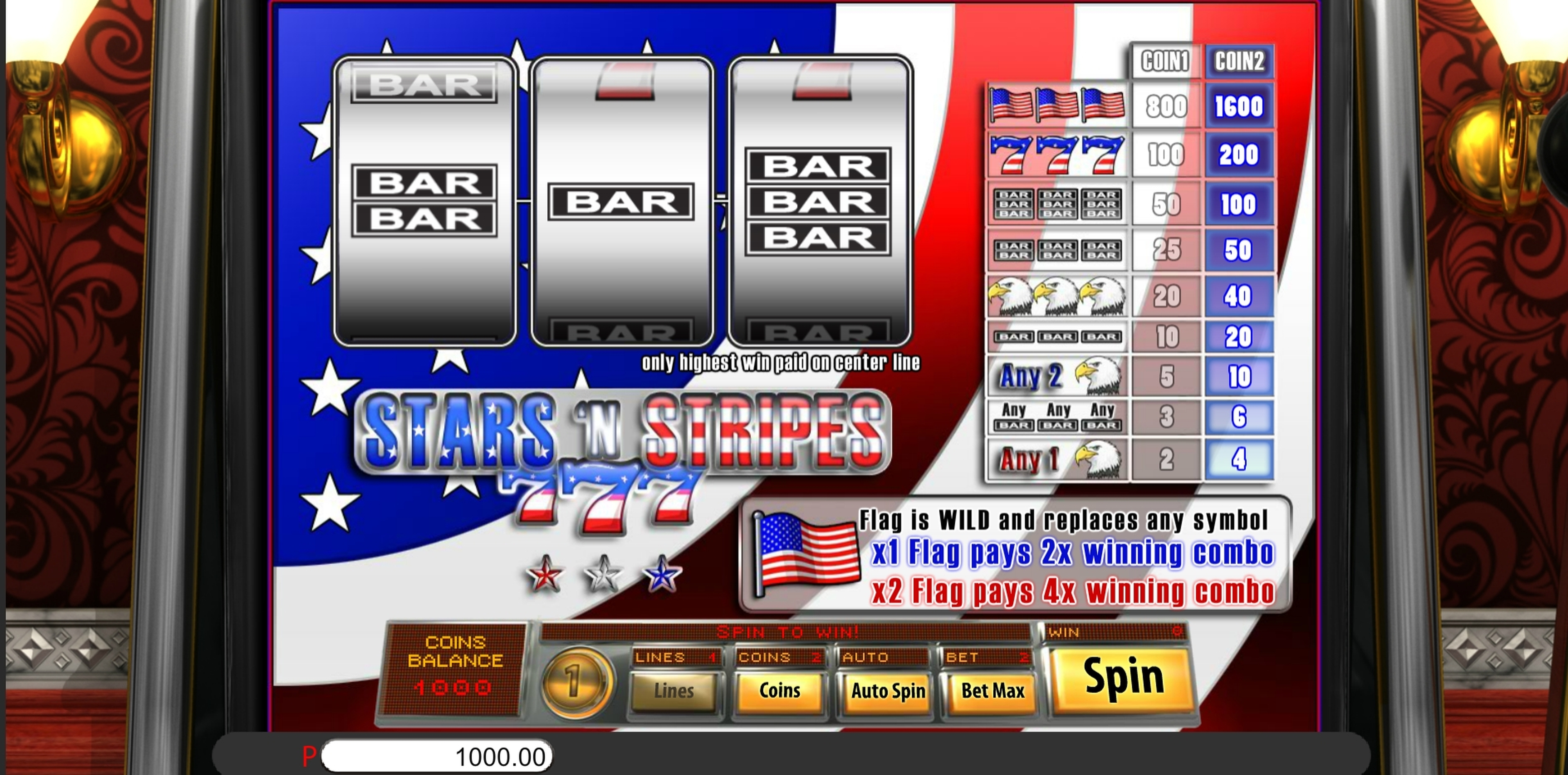 Reels in Stars And Stripes Slot Game by Saucify