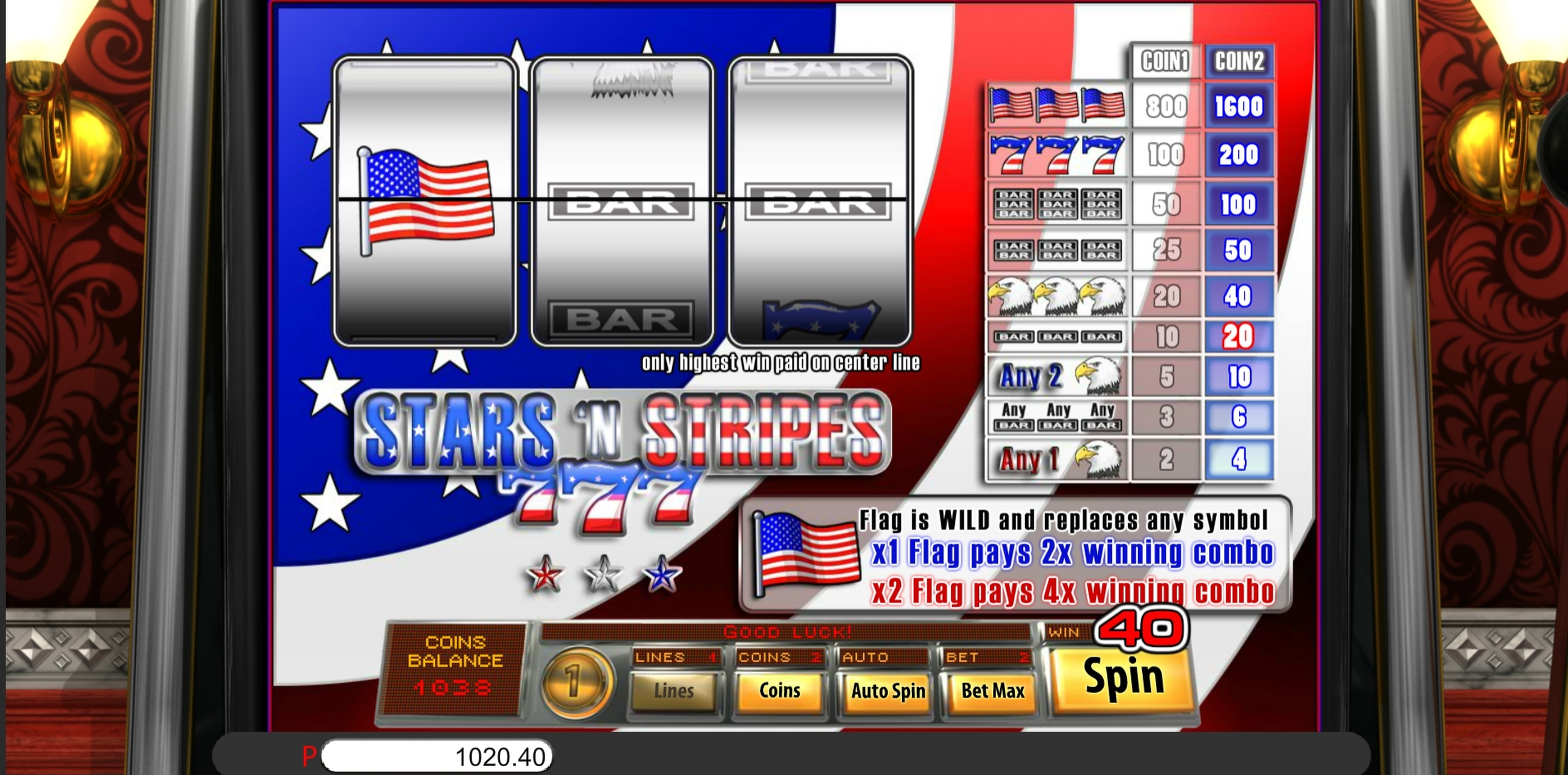 Win Money in Stars And Stripes Free Slot Game by Saucify