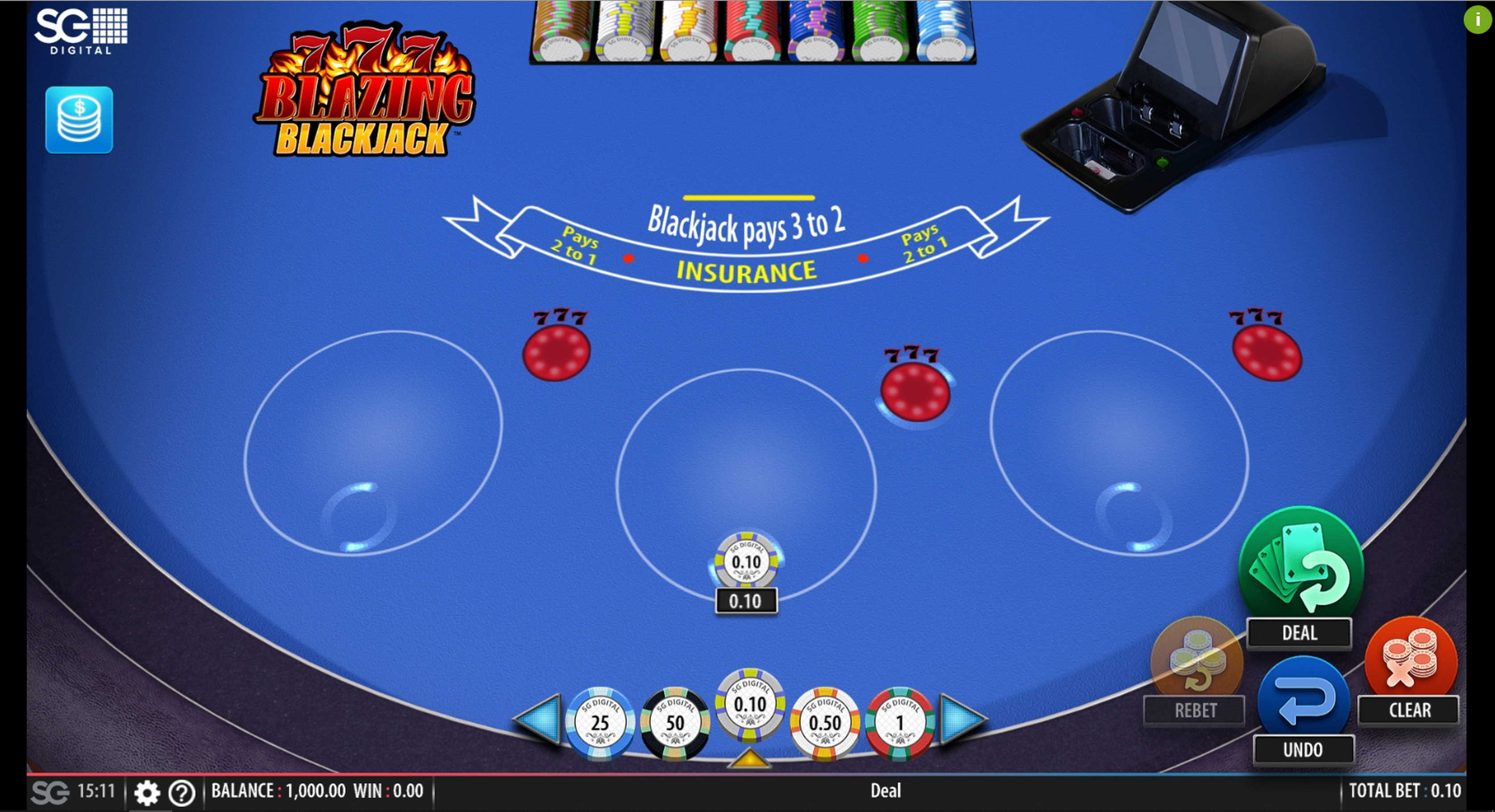 Reels in Blazing 7's Blackjack Slot Game by Shuffle Master