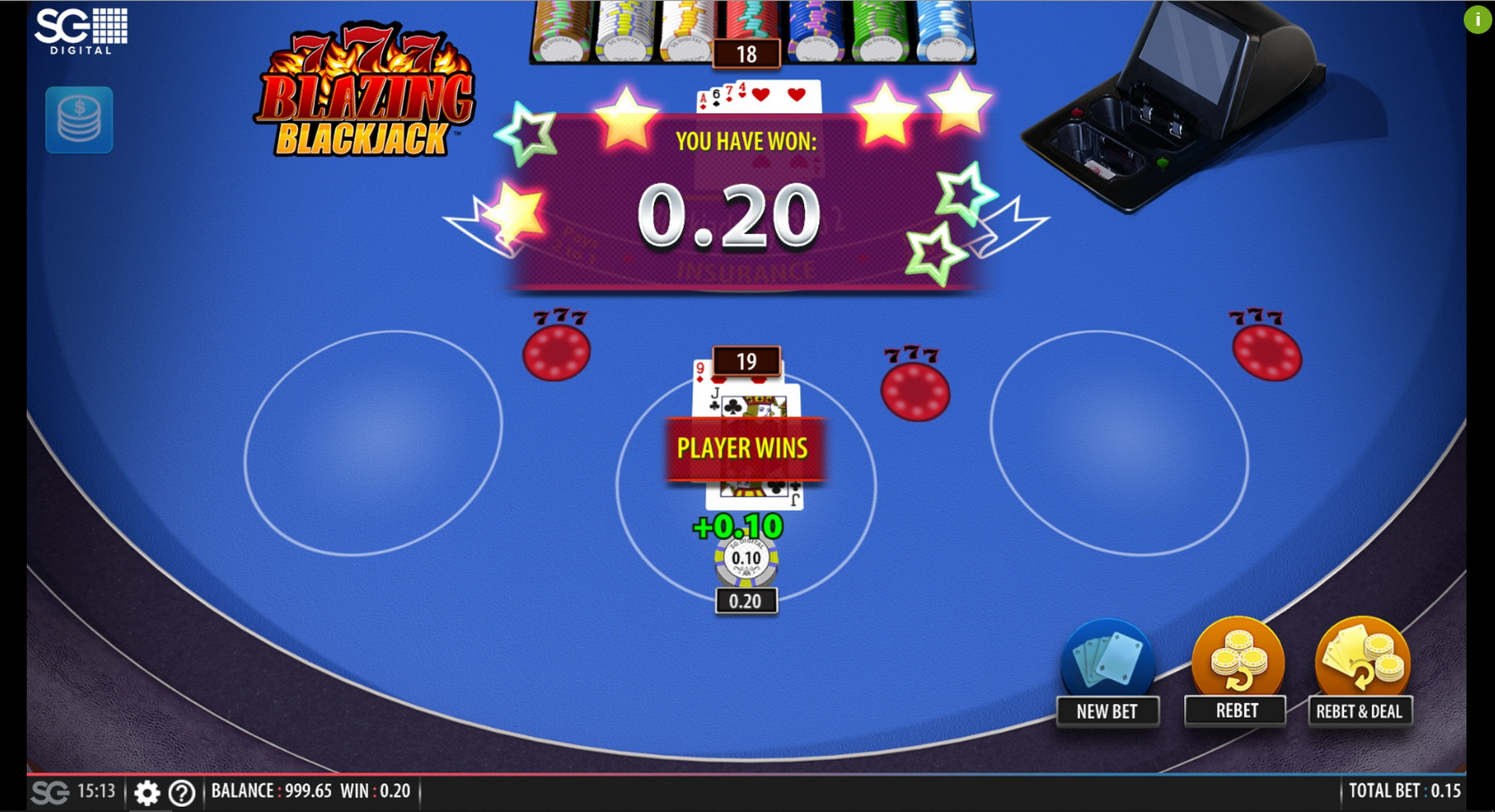 Win Money in Blazing 7's Blackjack Free Slot Game by Shuffle Master