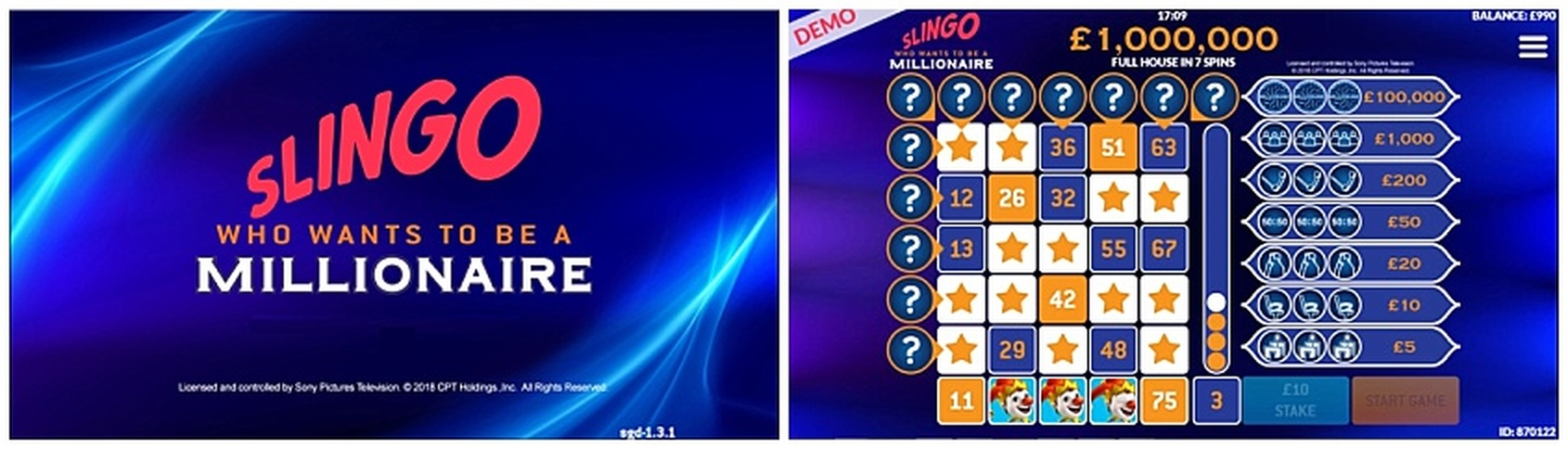 The Slingo Who Wants to be a Millionaire Online Slot Demo Game by Slingo