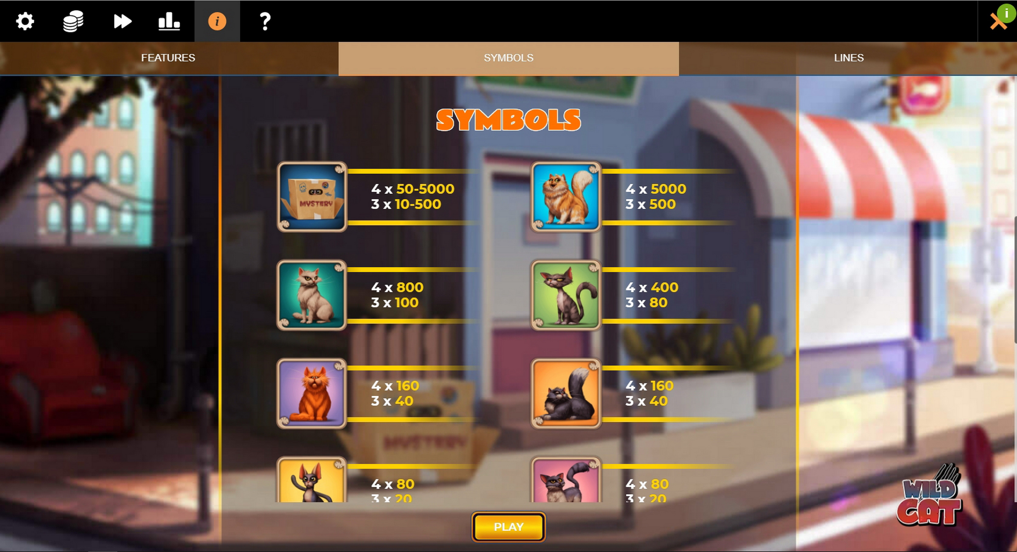 Info of Wild Cat Slot Game by Spinmatic