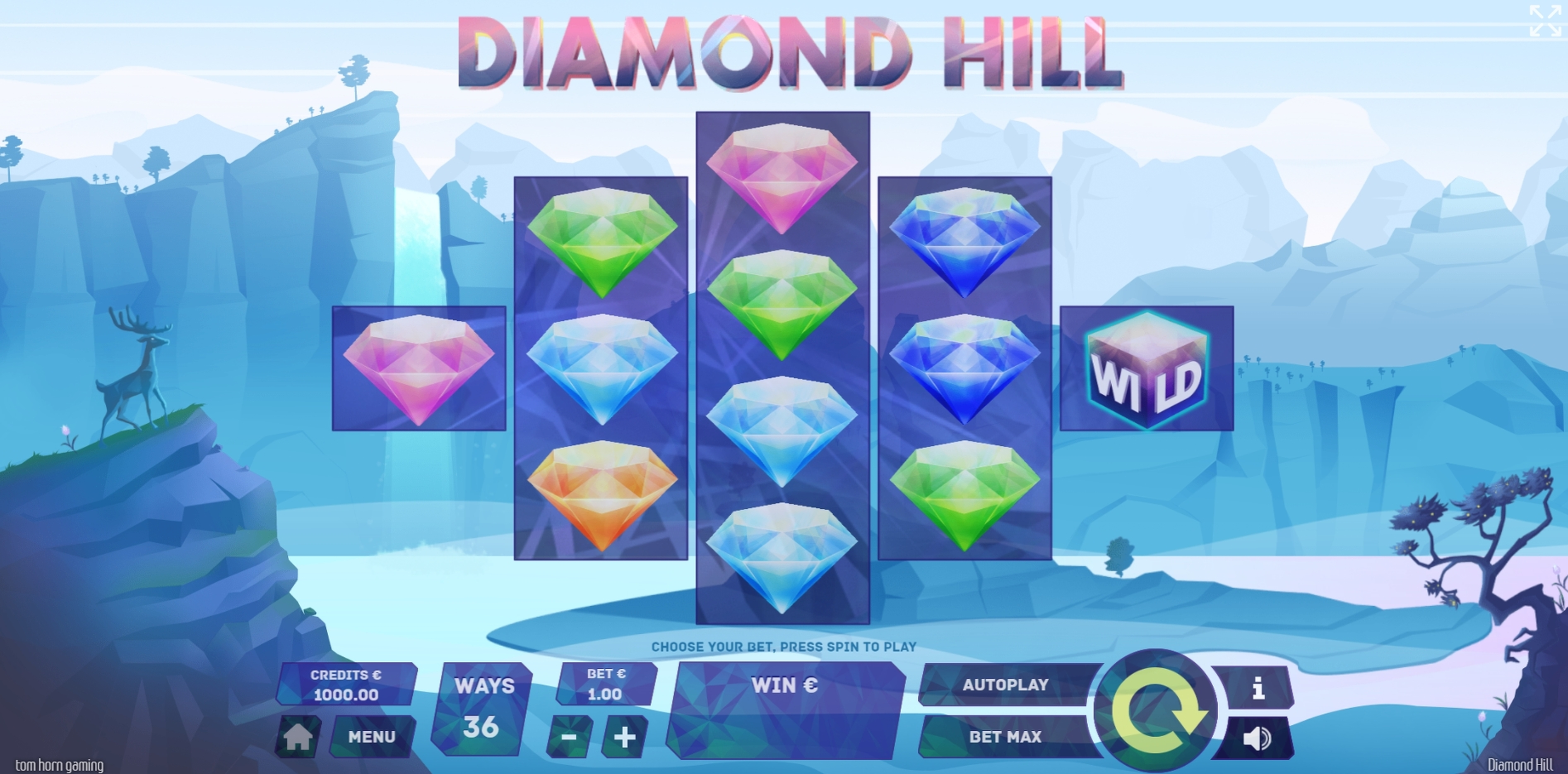Reels in Diamond Hill Slot Game by Tom Horn Gaming